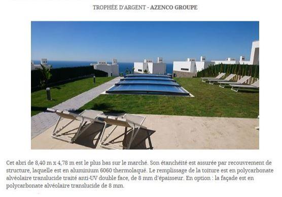 Azenco remporte le trophée Argent du concours FPP en catégorie abris de piscine avec le Néo Smart